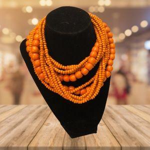 Multi Strand Wood Beaded Necklace Orange Boho Chic